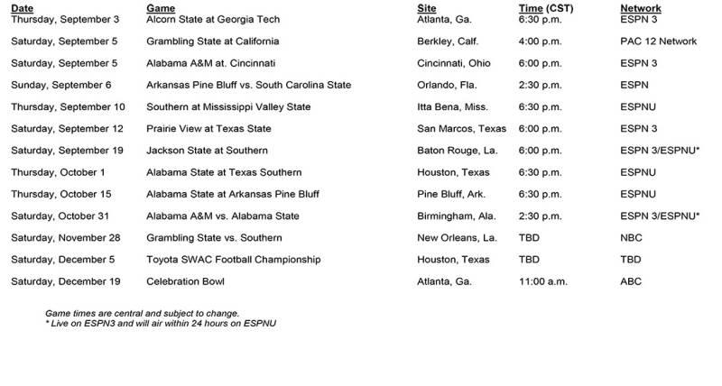 Hbcu In Georgia >> SWAC 2015 Football TV Schedule Light On Alcorn State, Capped By Celebration Bowl | HBCU Sports